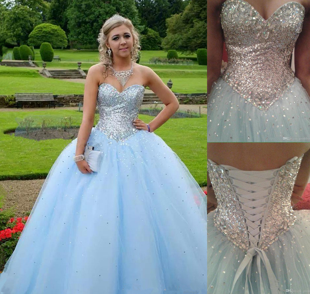 Light Blue Prom Dress,Ball Gown Prom Dress,Princess Prom Gown,Beaded ...
