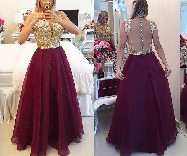 Wine Red Prom Dresses,Charming Evening Dress,Burgundy Prom Gowns,Lace Prom Dresses,New Prom Gowns,Gold Evening Gown,Backless Party Dresses