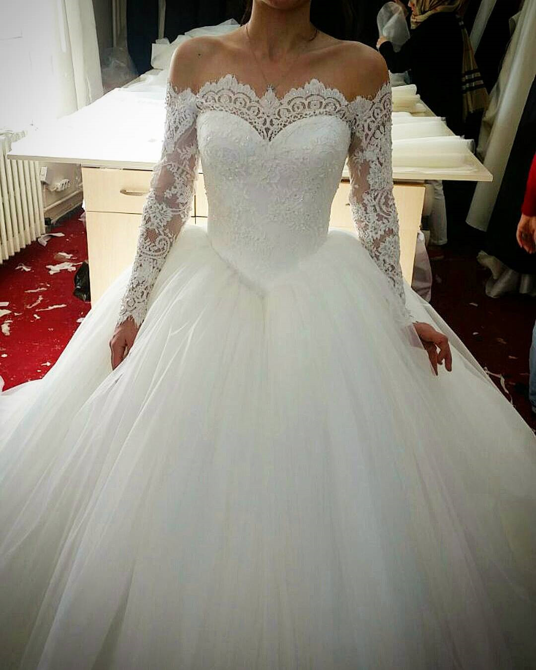 Lace Appliques Off-The-Shoulder Long Mesh Sleeves Floor Length Tulle Wedding Gown