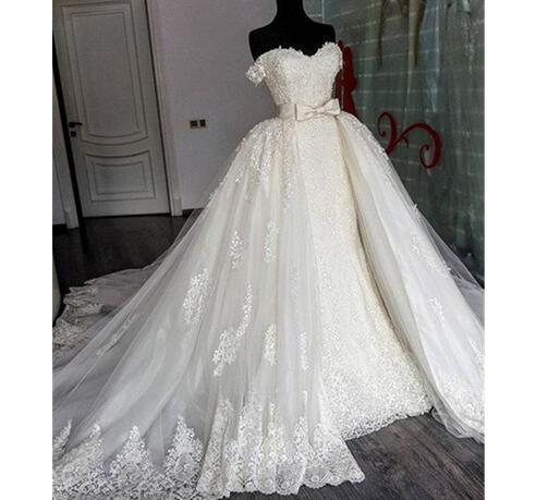 Sexy Sweetheart Wedding Dress Lace Mermaid Wedding Dresses Removable Train Applique Wedding Dress Lace Bridal Gowns With Detachable Skirt Wedding
