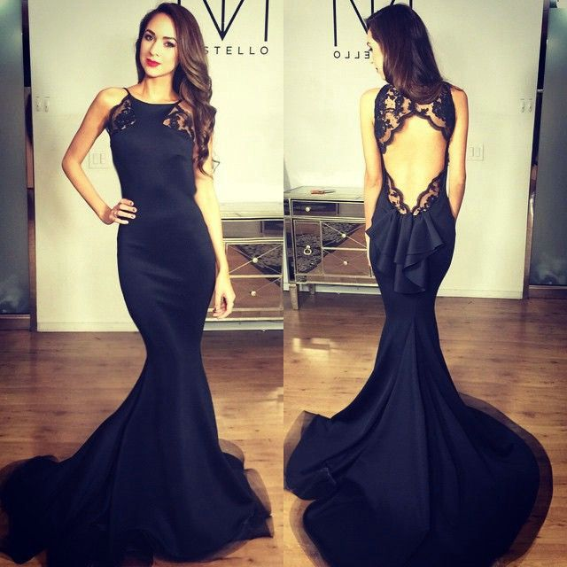 Black Prom Dresses,Backless Prom Dress,Satin Prom Dress,Mermaid Prom ...