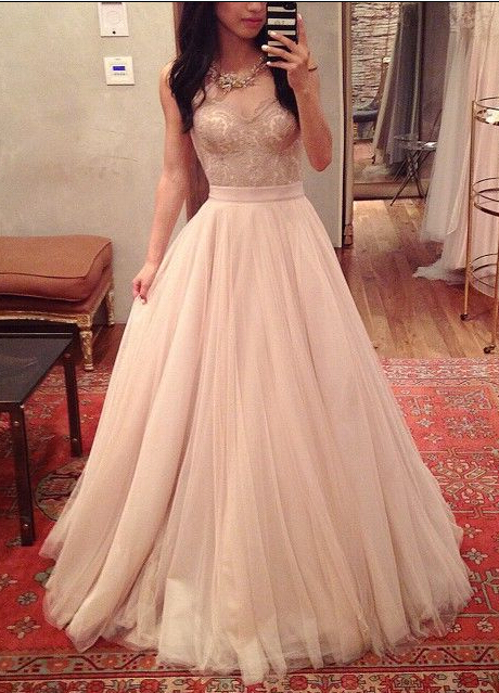 Blush Pink Prom Dresses,Ball Gown Prom Dress,Lace Prom Dress,Simple ...