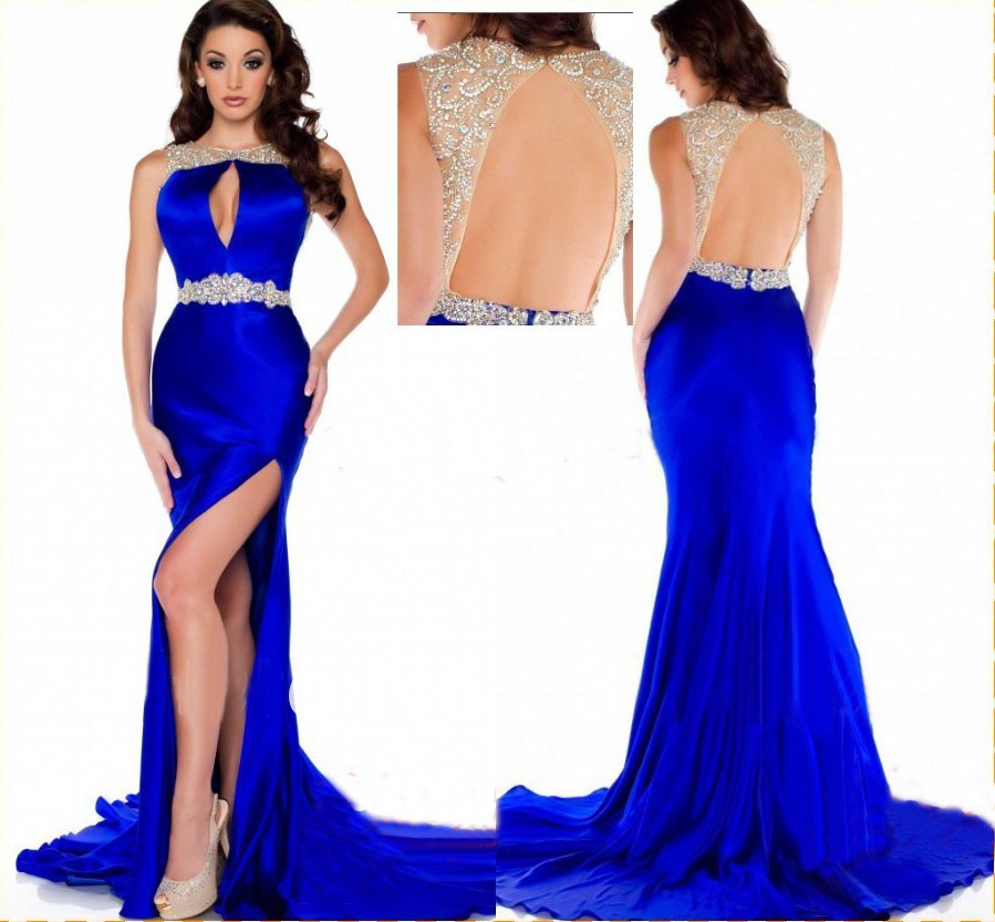 Royal Blue Prom Dress,Mermaid Prom Dress,Satin Prom Gown,Backless ...
