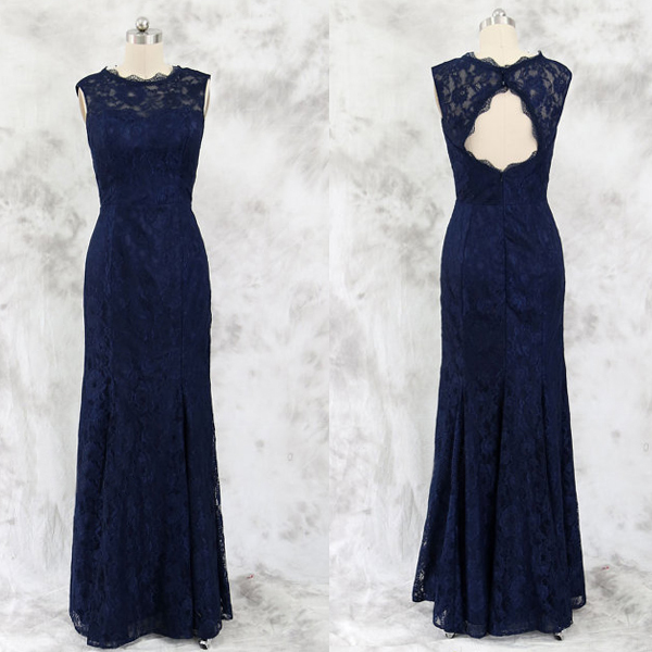 Lace Bridesmaid Dress,Long Bridesmaid Gown,Navy Blue Bridesmaid Gowns,Simple Bridesmaid Dresses,Cheap Bridesmaid Gowns,Vintage Brides Dress,Dark Navy Bridesmaid Gowns