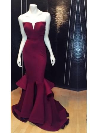 Burgundy Prom Dresses,Mermaid Prom Dress,Satin Prom Dress,Strapless ...
