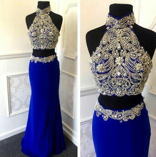 57086a36 Royal Blue Prom Dresses,2 Piece Prom Gowns,2 pieces Prom Dresses,Sexy Party  Dresses,Long Prom Gown,Chiffon Prom Dress,Beaded Evening Gowns,Beading  Formal ...