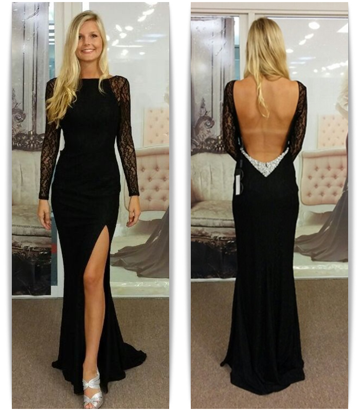Black Prom Dresses,Elegant Prom Dress,Chiffon Prom Gown,Slit Long Prom Gown,Fashion Evening Dress,Lace Formal Dress,Long Sleeves Backless Party Dress