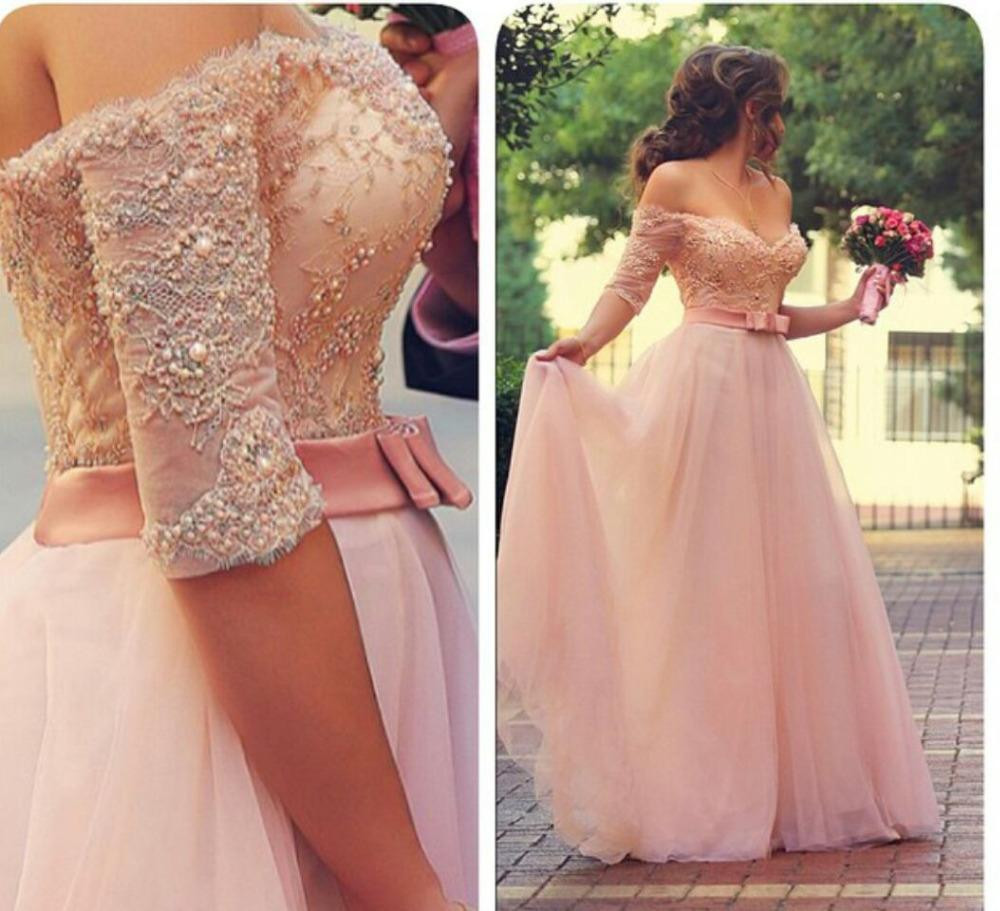 Pink Lace Prom Dresses,Princess Prom Dress,Ball Gown Prom Gown,Pink Prom Gown,Elegant Evening Dress,Tulle Evening Gowns,Party Gowns With Half Sleeves