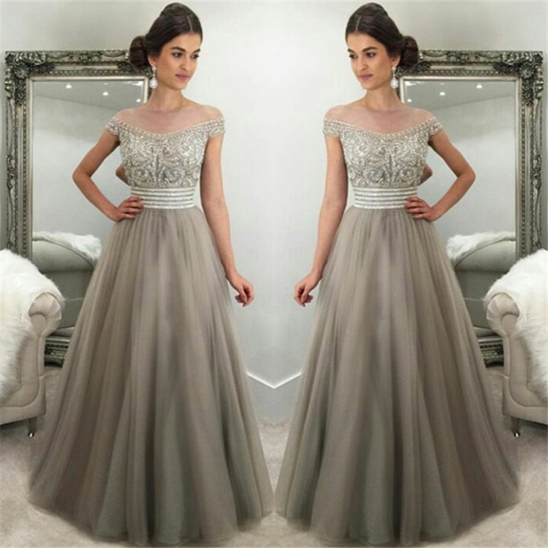 Off The Shoulder Prom Dress,Crystals Prom Dresses,Silver Grey Prom ...