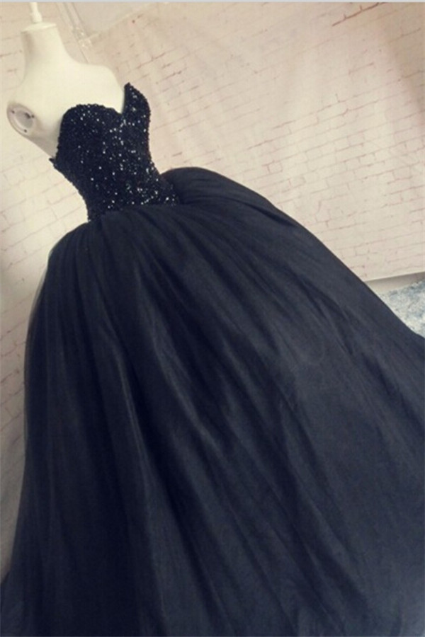 Beaded Amazing Prom Dress,Black Evening Gown ,Sequins Sweetheart Prom Dresses,Sparkly Corset Puffy Tulle Prom Dress