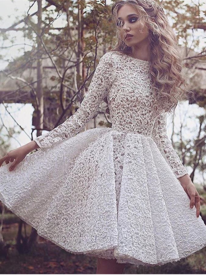 Long Sleeves Full Lace Evening Gowns Short Homecoming Dress