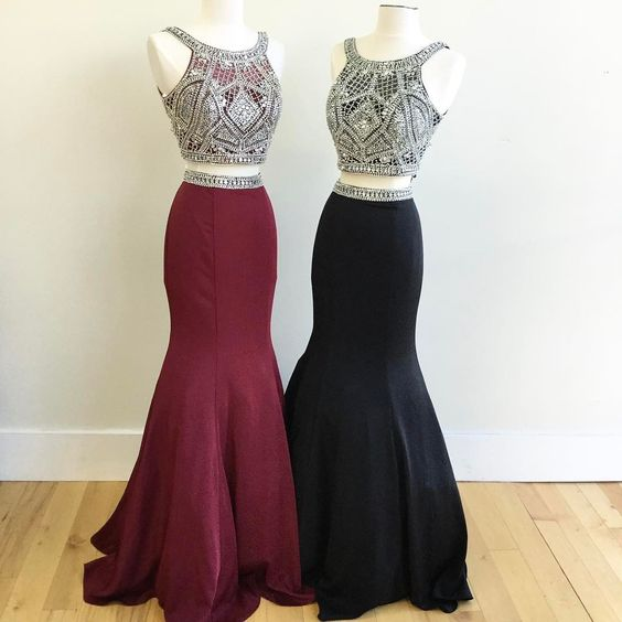 2 Piece Prom Gown,Two Piece Prom Dresses,Burgundy Evening Gowns,2 Pieces Party Dresses,Burgundy Evening Gowns,Glitter Formal Dress,Sparkly Evening Gowns For Teens