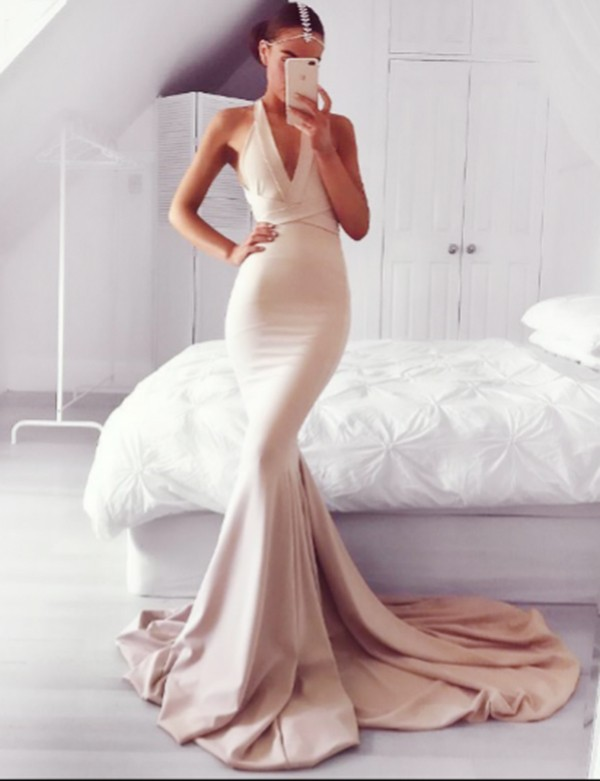Charming Mermaid Prom Dress, Sexy Prom Dress V-neck, Long Prom Dress, Sexy Backless Prom Dress, Blush Prom Dress, Sexy Evening Dress, Formal Dress for Woman