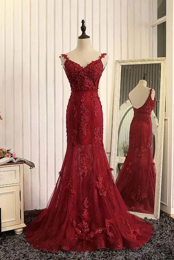 Red Tulle Lace Applique Prom Dress,V-neck Open Back Long Prom Dresses, Mermaid Dresses, Burgundy Prom Dress, Charming Lace Prom Dress, Formal Dress, Woman Evening Dress