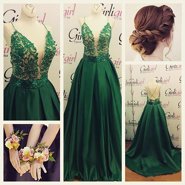 c4b39bda2de8 Green Prom Dress,Lace Evening Gowns,Modest Formal Dresses,New Fashion Evening  Gown