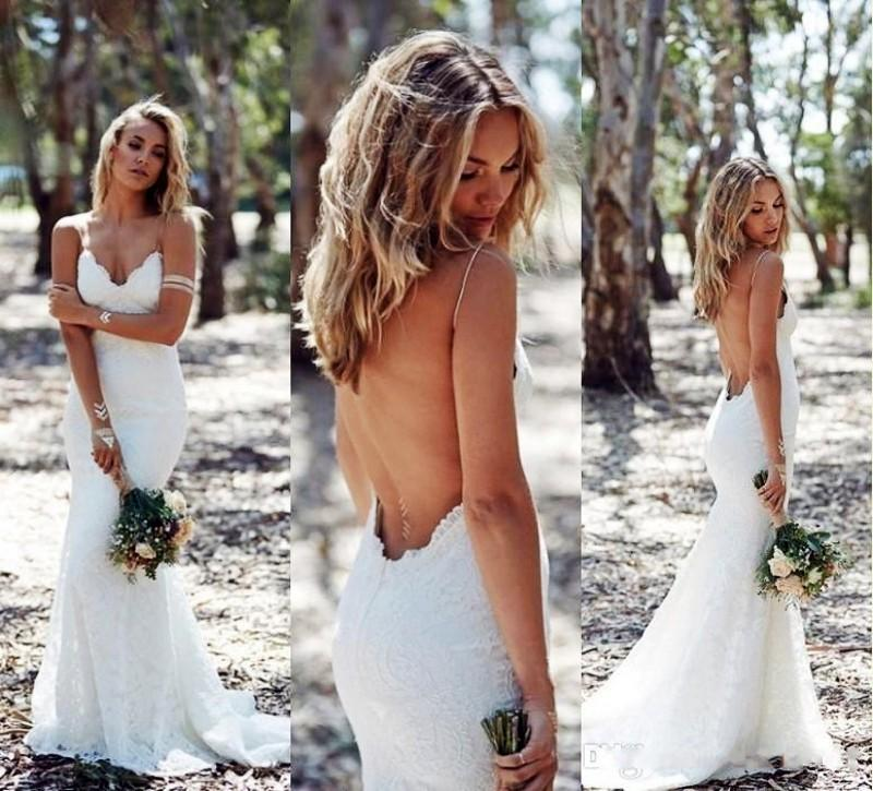 Sexy Backless Lace Wedding Dress Plus Size Robe De Marriage Long Mermaid Beach Wedding Bridal Gowns Spaghetti Strap