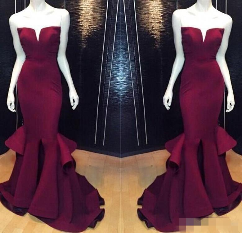 Cheap Sexy Mermaid Prom Party Dresses Burgundy Grape Formal Pageant Evening  Dress Long Satin Plus Size Gowns Backless Sexy Real Images 54f469db1829