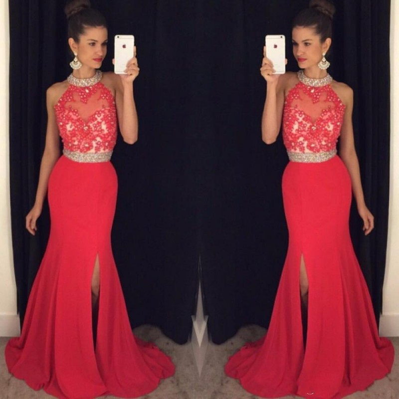c2030b01d4a Halter Neck Split Side Prom Dress