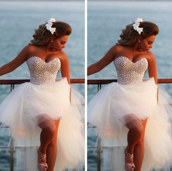 Heavy Pearls Short Wedding Dress,High Low White Prom Dress, A Line Sweetheart Front Short Long Back Wedding Gowns, Bridal Wedding Dresses, Fashion Prom Dress