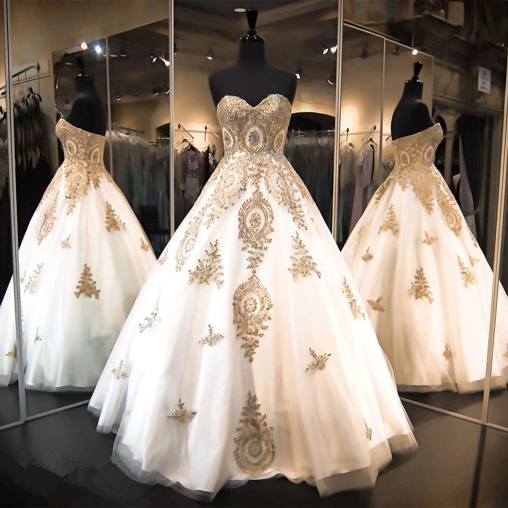 Gold Lace Appliques Wedding Dresses Ball Gowns Wedding Dress