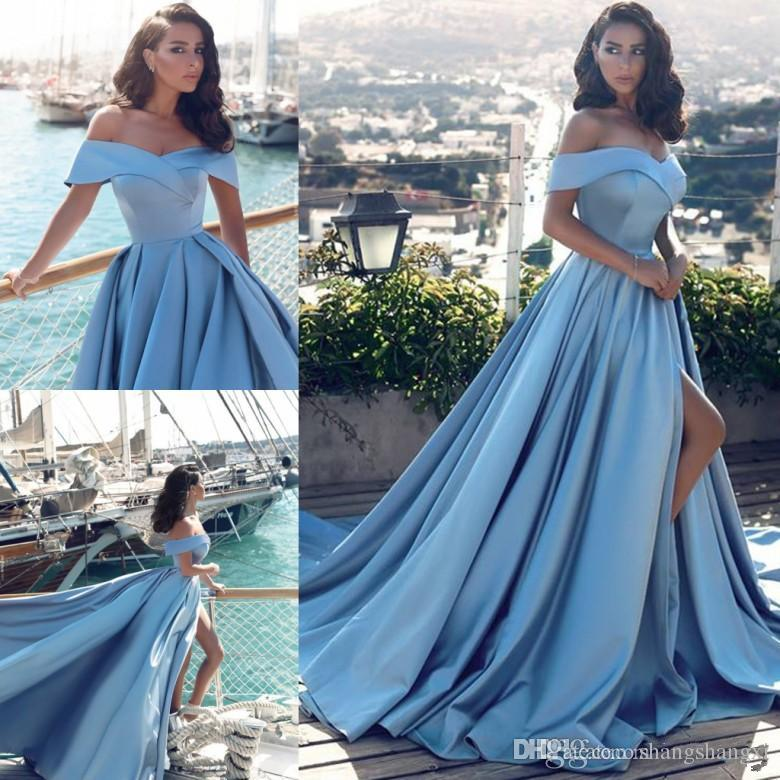 Sexy Prom Dresses Light Blue Evening Dressesnew Fashion Prom Gowns