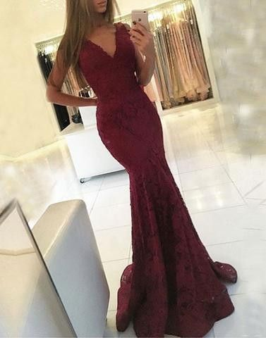 v-neck mermaid burgundy Prom Dress, long evening dress,Mermaid Prom Dresses,Long Prom Dresses,Prom Dresses,Evening Dress, Backless Prom Dresses,Mermaid Prom Dresses