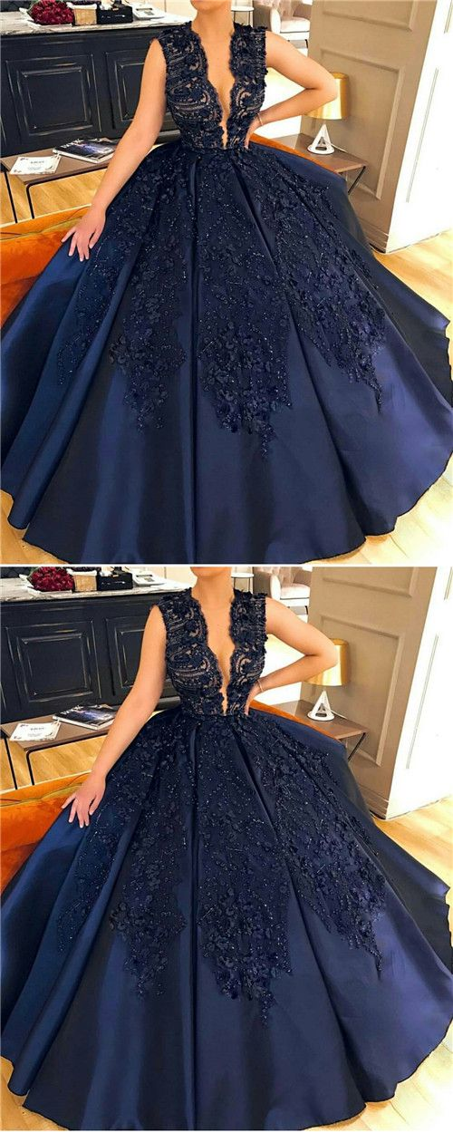navy blue prom dresses,country prom dresses,lace prom dresses,beaded prom dresses,ball gown prom dress, Lace Evening Gown,Formal Dress