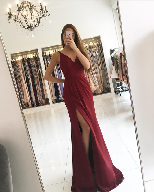 v neck prom dress,burgundy prom dress,mermaid evening dress,sexy long formal dress,prom dresses,formal gowns