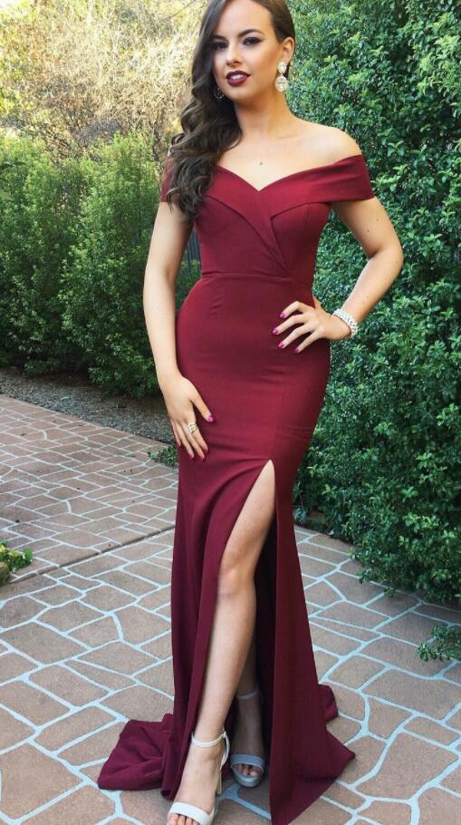 Burgundy Prom Dresses,Cheap Prom Dress,Long Prom Dress,Off the Shoulder Prom Dress, Slit Prom Dresses, Long Party Dress