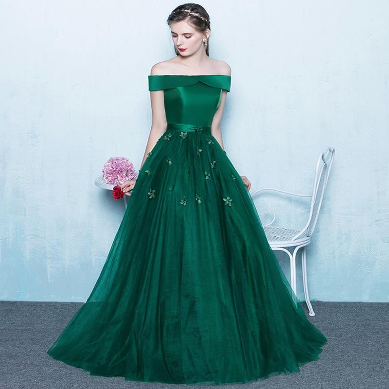 213d6506d2bb Green Off Shoulder Prom Dress