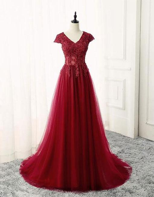Burgundy v neck lace long prom dress, burgundy evening dress,Long Prom Gowns,Prom Dresses, Evening Gowns