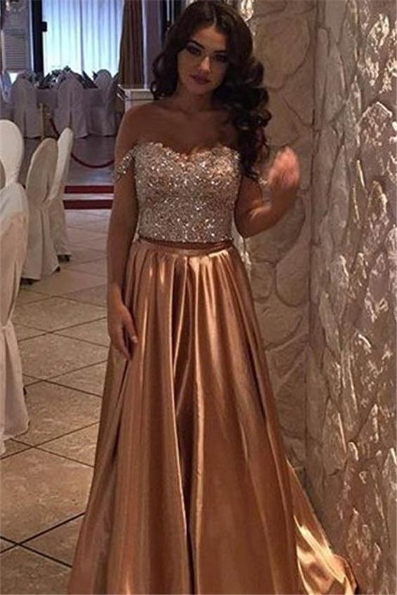 Charming Prom Dress,Beading Prom Dress,Two Pieces Prom Dress,Satin Evening Dress,Long Prom Dresses,Prom Dresses,Evening Dress, Prom Gowns, Formal Women Dress,prom dress