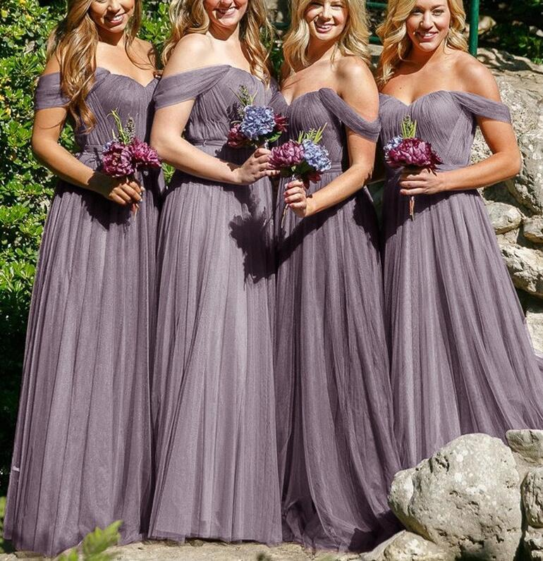 Off-the-Shoulder Simple Bridesmaid Dresses,A-Line Grey Tulle Bridesmaid Dress,Cheap Floor-Length Bridesmaid Dress