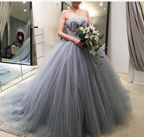 Gray Ball Gown Formal Evening Gowns,Lace Sweetheart Plus Size ...