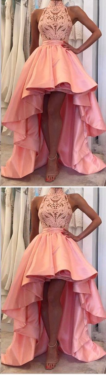 High Neck Lace Long Prom Dress, Sexy High Low Evening Party Dresses ,Long Evening Dress, Prom Dress, Prom Gowns, Formal Women Dress,prom dress