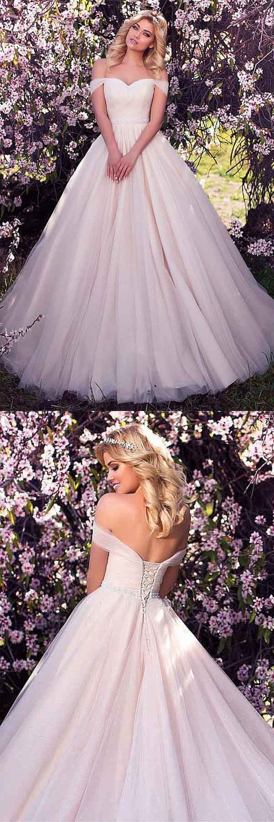 Off Shoulder Tulle Wedding Dress,Ball Gown Wedding Dresses, Sexy Bridal Dresses