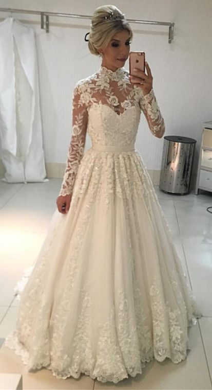 8db553bde36b A-line High Neck Wedding Dress,Long Sleeves Lace Wedding Dresses ,Floor  Length