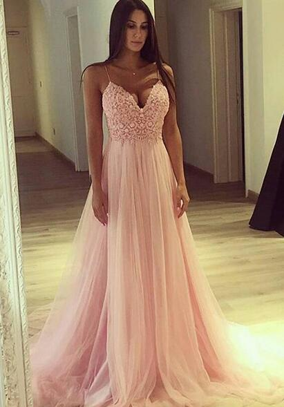 Spaghetti Straps Light Pink Prom Dress,Sexy A-Line Prom Dress,Cheap prom Dress,Tulle Long Prom/Evening Dress with Lace