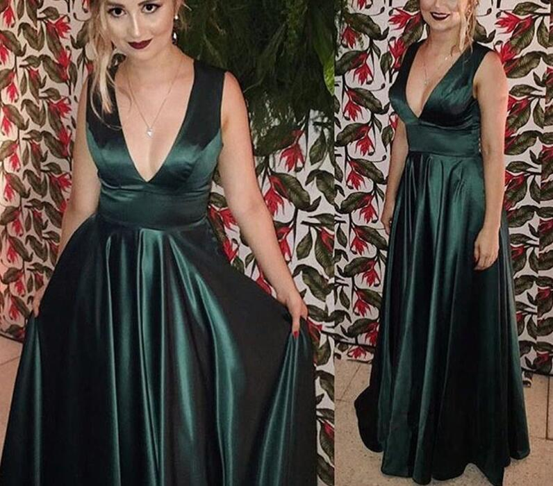 Charming Dark Green Satin Prom Dresses,Party Dresses, Evening Gowns, Formal Dresses