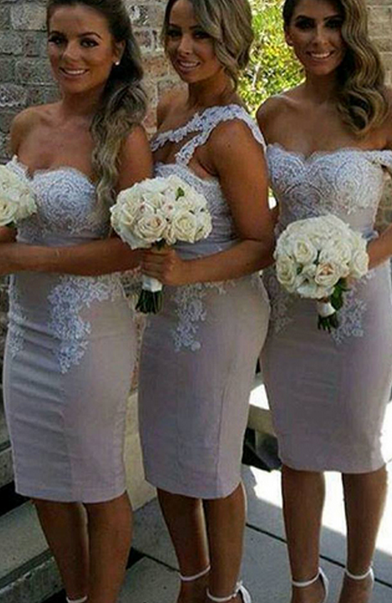 Charming Short Bridesmaid Dress,Sexy Sheath Bridesmaid Dresses,Satin Bridesmaid Dress