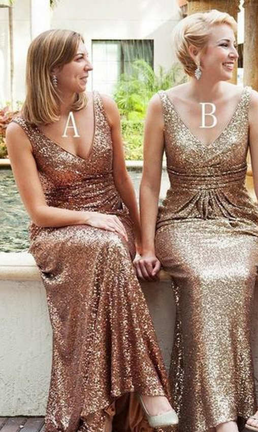 Cheap bridesmaid dresses,Popular Mismatched Long Sheath Sequin Bridesmaid Dresses