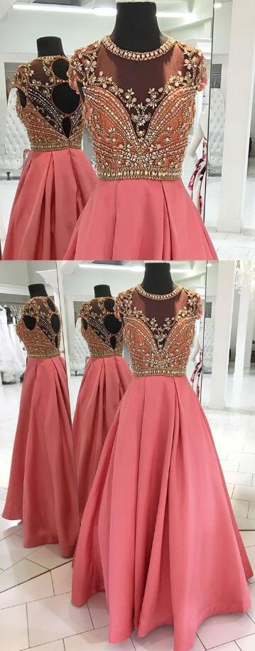 Long Beading Prom Dresses,CHeap Prom Dress,Satin Prom Dress,Chiffon prom Dress, See Through Back long Formal Dress with Sliver Beads, Prom Dresses for Teens