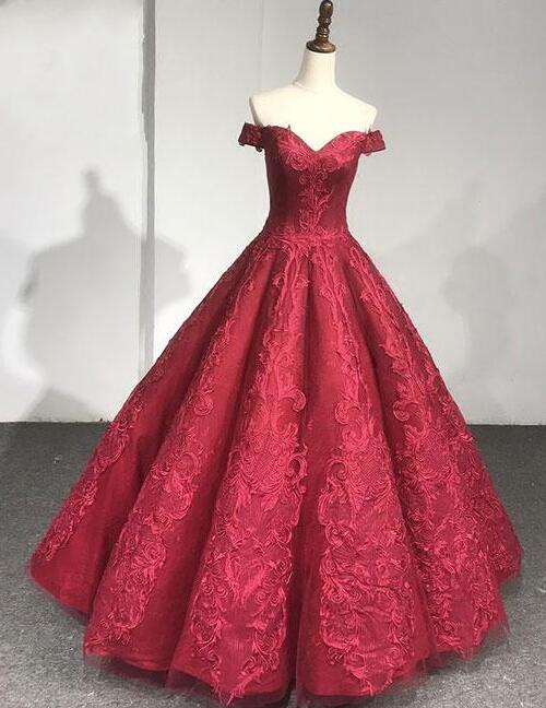 Burgundy lace Wedding Dress,Ball Gown Wedding Dresses,Stain prom Dress,off shoulder long brodal dresses, Wedding dress sexy