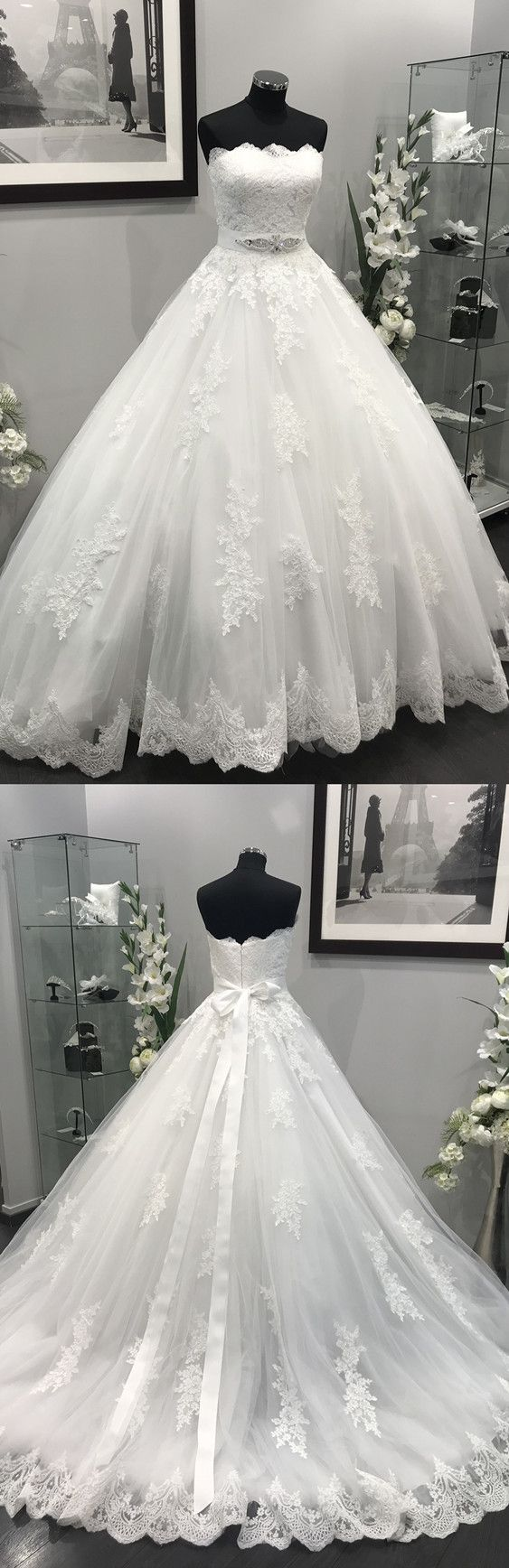 Lace Appliques Crystal Wedding Dress,Beaded Sashes Tulle Wedding Dresses Ball Gowns
