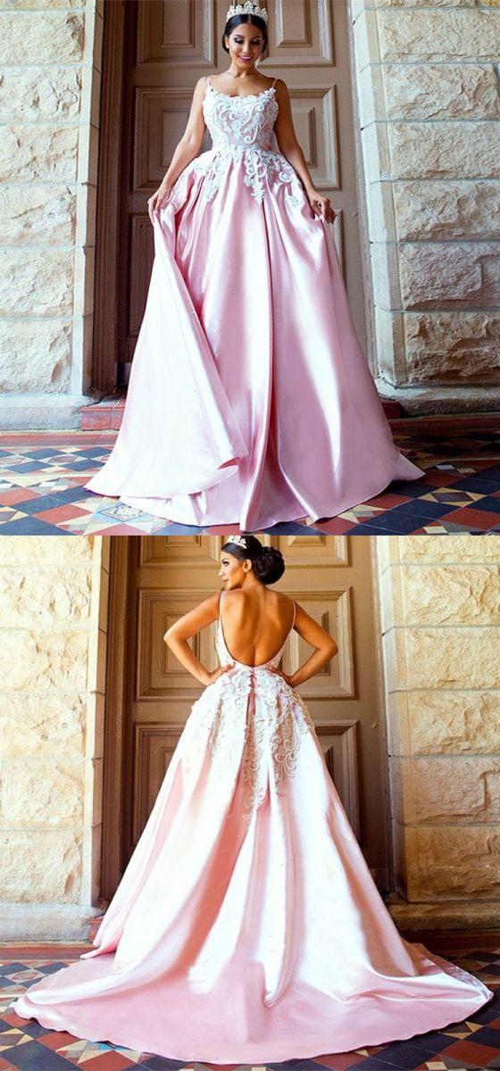modest pink backless long prom dresses, unique spaghetti straps sweep train party dresses, elegant evening gowns with appliques