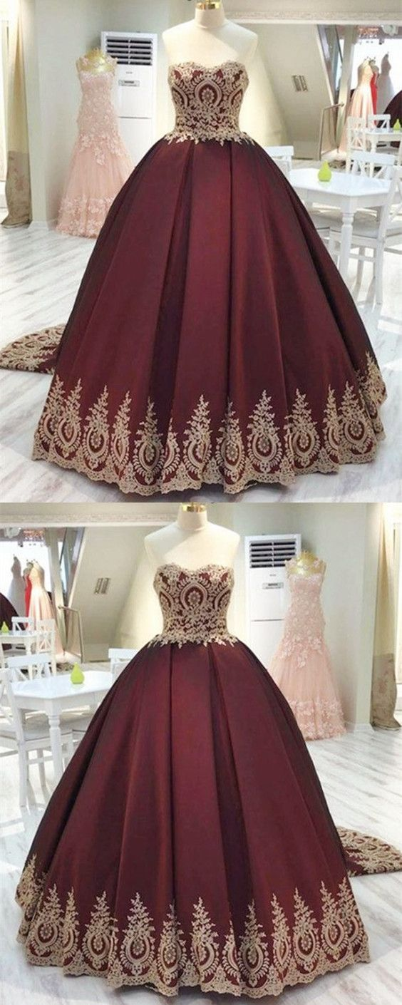 Vintage Gold Lace Appliques Wedding Dress,Sweetheart Burgundy Satin Quinceanera Dresses, Ball Gowns Wedding Dresses