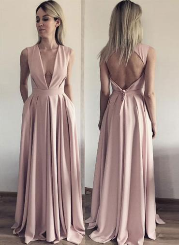 A Line Evening Dress, Open Back Evening Dresses, Deep V Neck Long Prom Dress