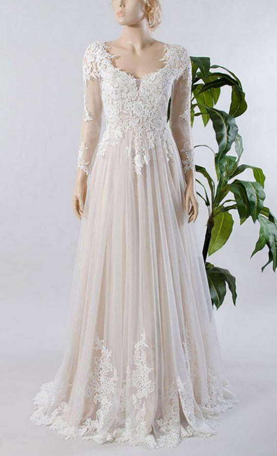 Custom Made Wedding Dresses,A-line Wedding Dresses,Tulle Lace Bridal Dresses,Long Sleeve Wedding Dresses,A Line Long Tulle Lace Long Sleeves Wedding Dress