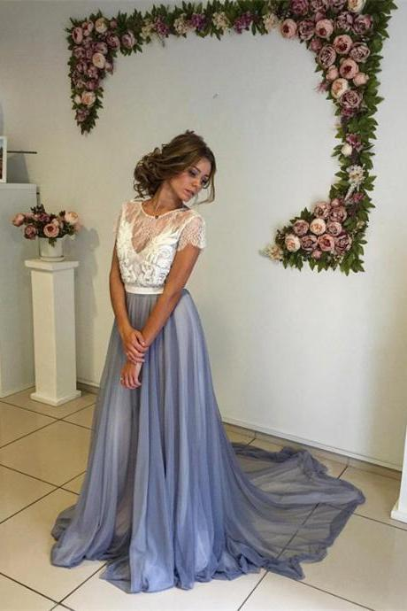 Prom Dress,Modern Short Sleeve Prom Dresses,Lace Evening Dress A-line Sweep Train