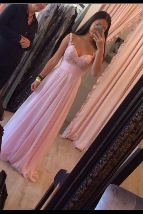 Pink Lace Appliqués Plunge V Shoulder Straps Floor Length A-Line Formal Dress, Prom Dress